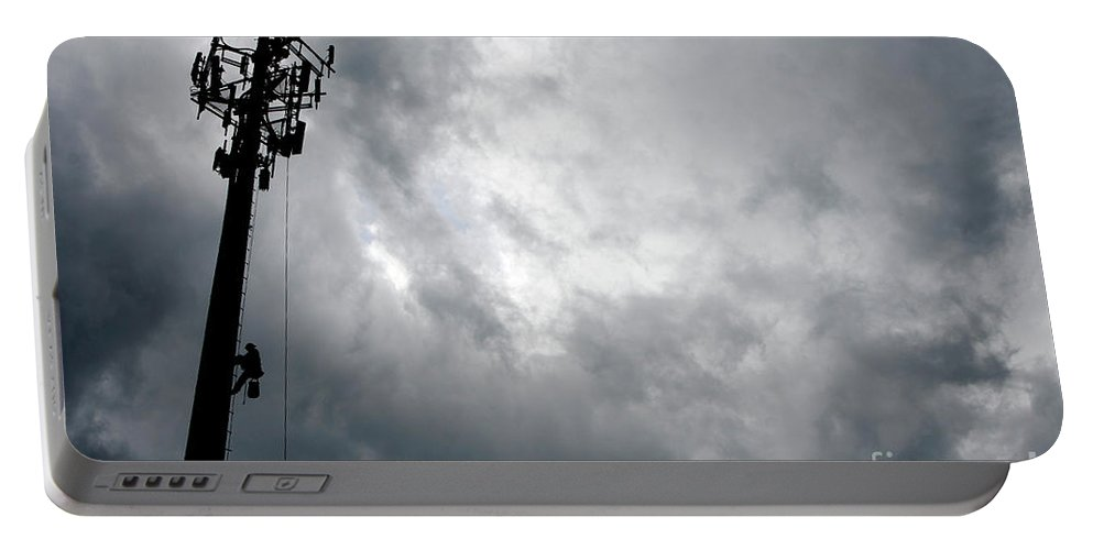 Cellular Tower Portable Battery Charger featuring the photograph Communications Tower by Craig McCausland