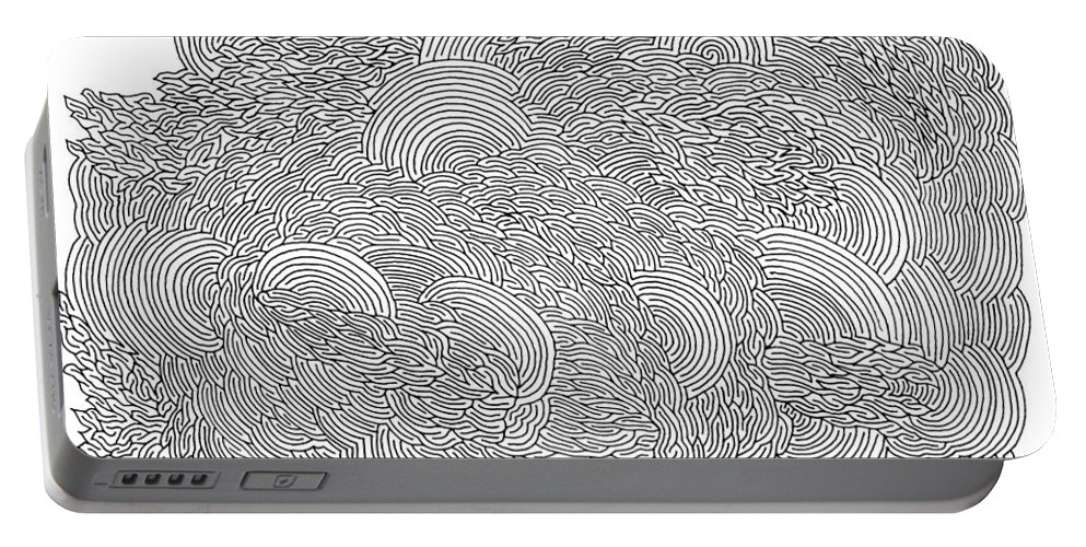 Mazes Portable Battery Charger featuring the drawing Confusion by Steven Natanson