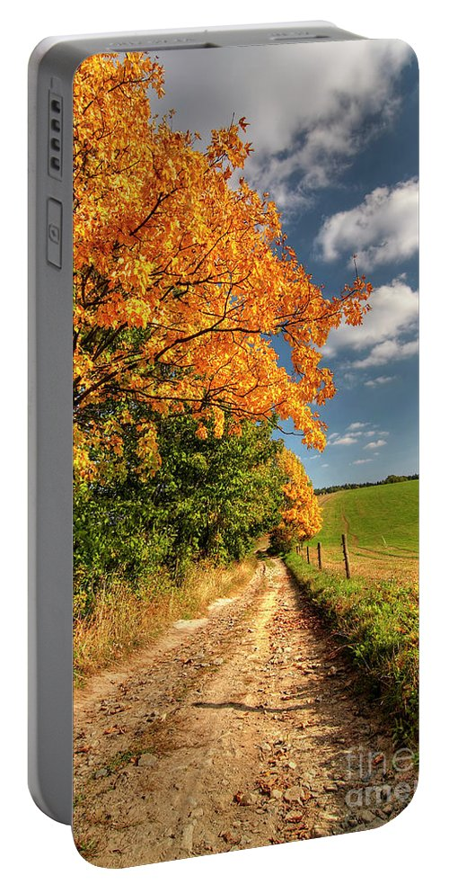 Autumn Portable Battery Charger featuring the photograph Country Road And Autumn Landscape by Michal Boubin