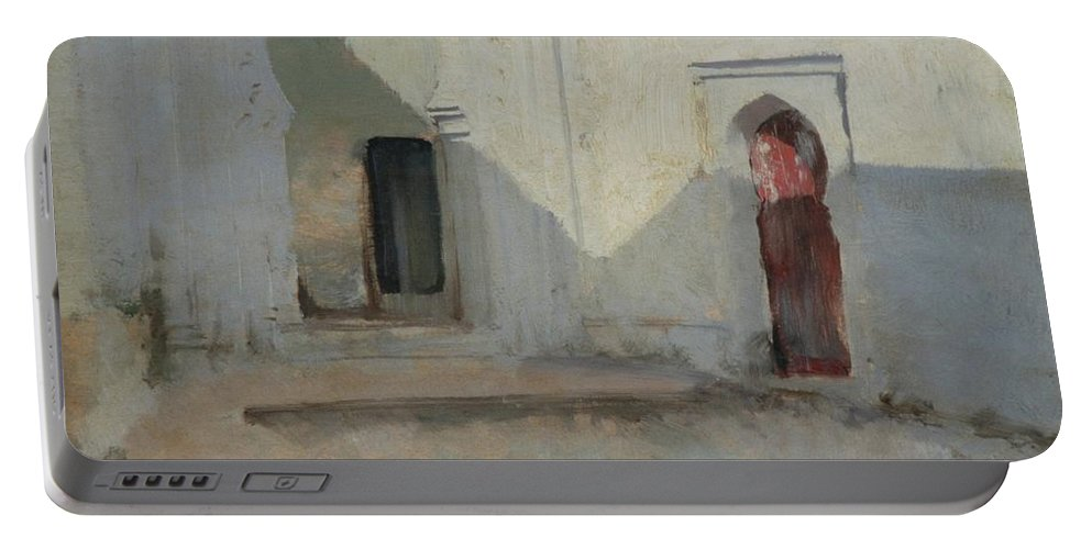 Courtyard Portable Battery Charger featuring the painting Courtyard by John Singer