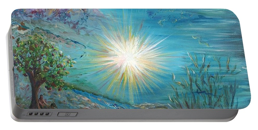 Creation Portable Battery Charger featuring the painting Creation by Nadine Rippelmeyer
