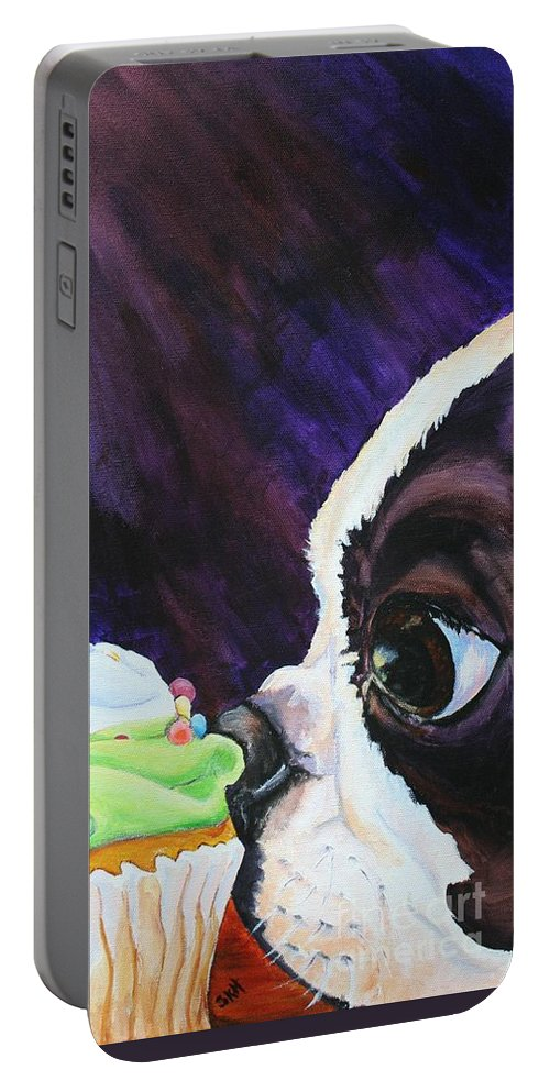 Boston Terrier Portable Battery Charger featuring the painting Cupcake Kid by Susan Herber