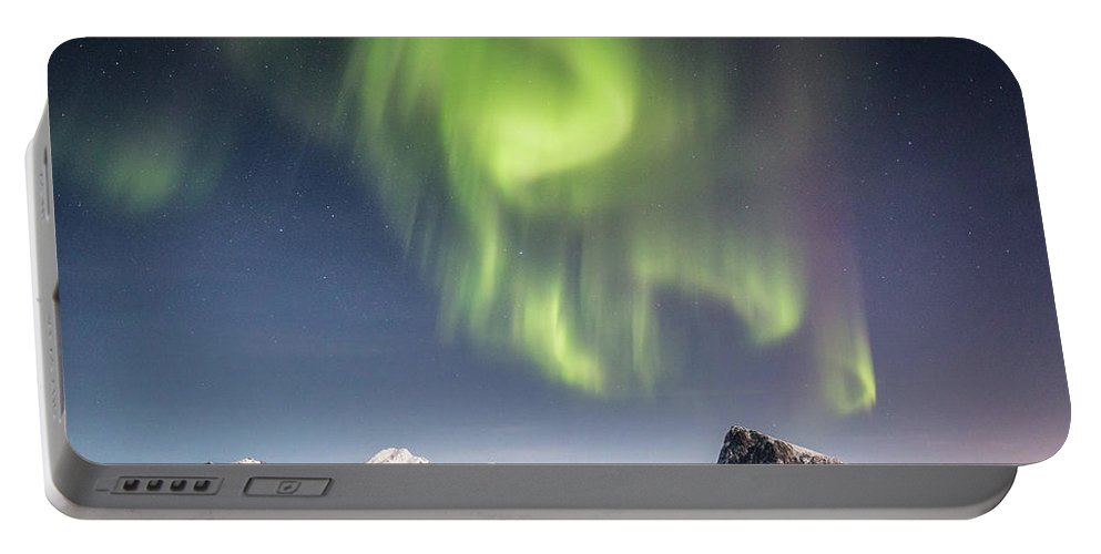 Aurora Portable Battery Charger featuring the photograph Curtains Of Light by Alex Conu