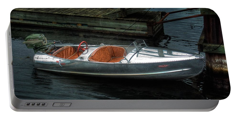 Aluminum Portable Battery Charger featuring the photograph Cute Boat - 1948 Feather Craft by John Herzog