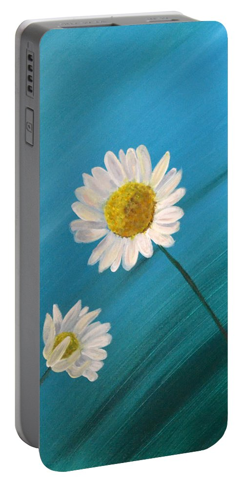 Daisy Portable Battery Charger featuring the painting Daisy Duo by Nancy Sisco