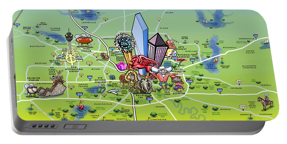 Dallas Portable Battery Charger featuring the painting Dallas Texas Cartoon Map by Kevin Middleton