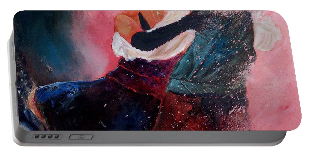 Music Portable Battery Charger featuring the painting Dancing Tango by Pol Ledent