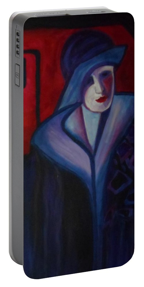 Solitary Woman Portable Battery Charger featuring the painting Dark Places by Carolyn LeGrand