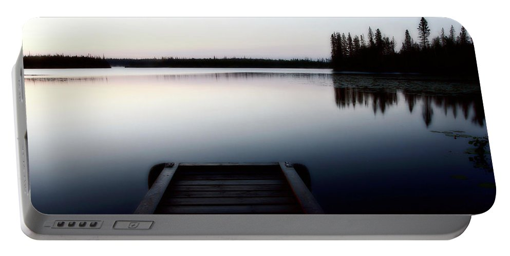 Reflections Portable Battery Charger featuring the digital art Dawn At Lynx Lake In Northern Saskatchewan by Mark Duffy