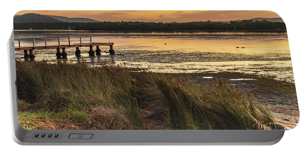 Australia Portable Battery Charger featuring the photograph Dawn Waterscape And Wharf by Merrillie Redden