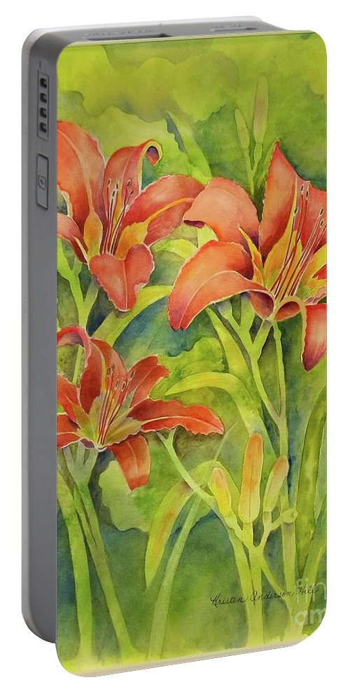 Watercolor. Day Lilies Portable Battery Charger featuring the painting Day Lilies by Kristen Anderson Hill