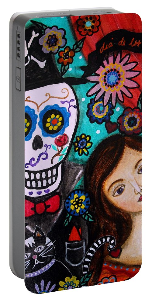 Mexican Portable Battery Charger featuring the painting Day Of The Dead by Pristine Cartera Turkus