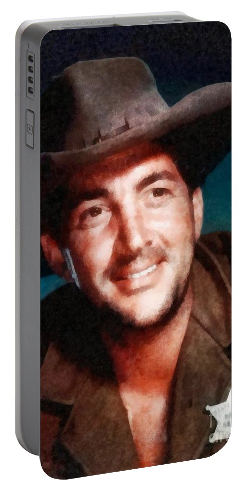 Hollywood Portable Battery Charger featuring the painting Dean Martin By John Springfield by John Springfield