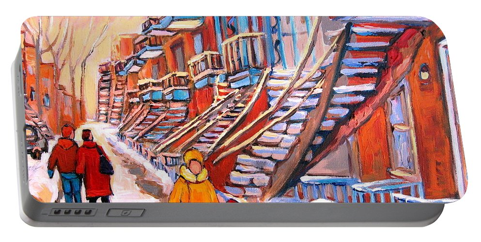 Debullion Street Winter Walk Portable Battery Charger featuring the painting Debullion Street Winter Walk by Carole Spandau