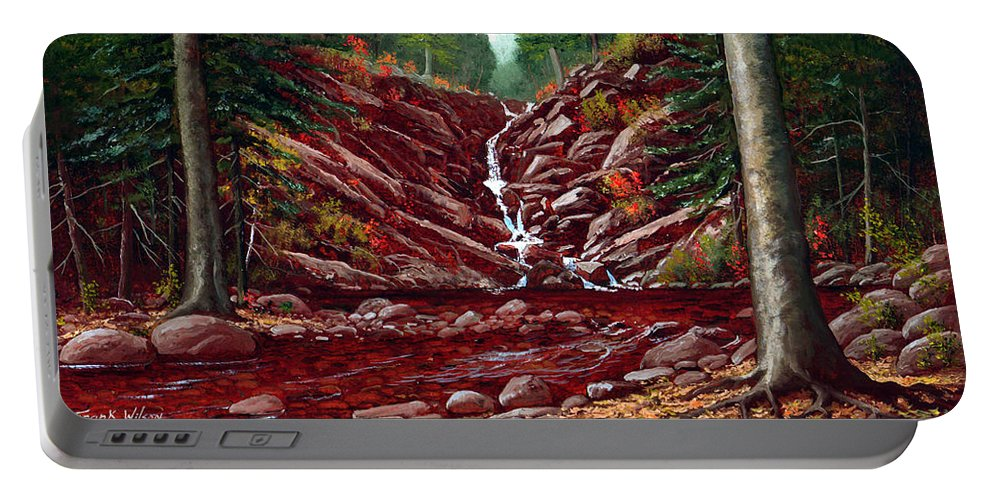 Frank Wilson Portable Battery Charger featuring the painting Deepwoods Cascade by Frank Wilson