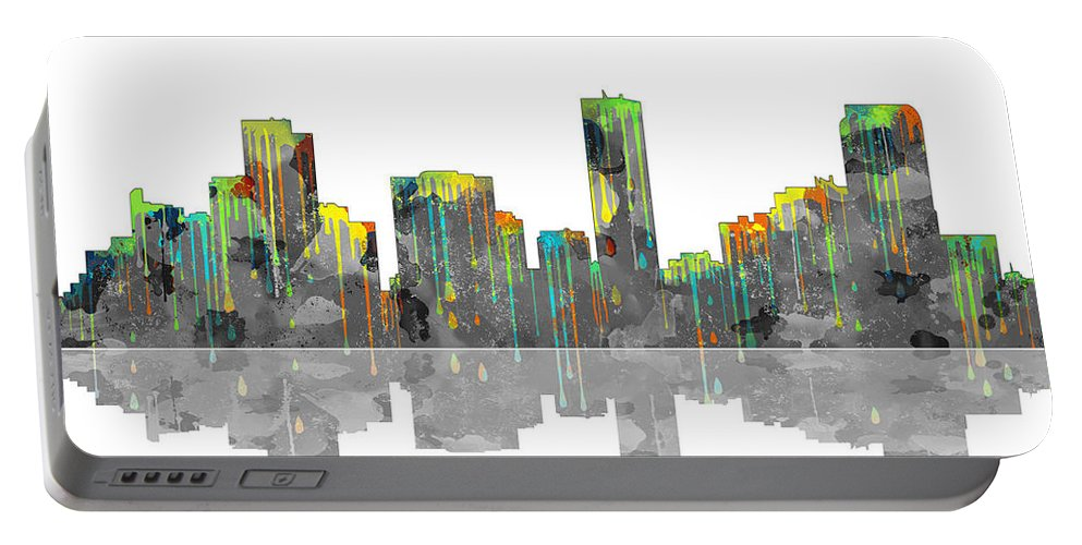Denver Colorado Skyline Portable Battery Charger featuring the digital art Denver Colorado Skyline by Marlene Watson