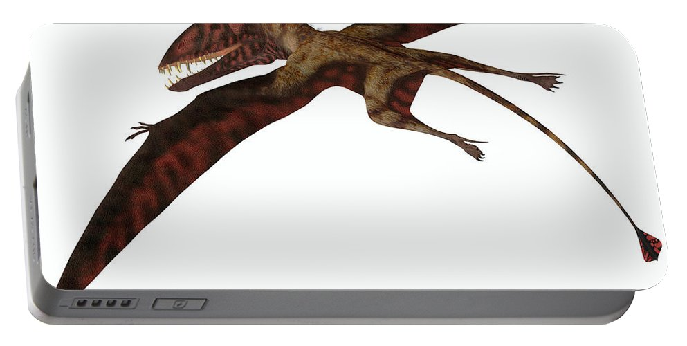 Dimorphodon Portable Battery Charger featuring the painting Dimorphodon On White by Corey Ford