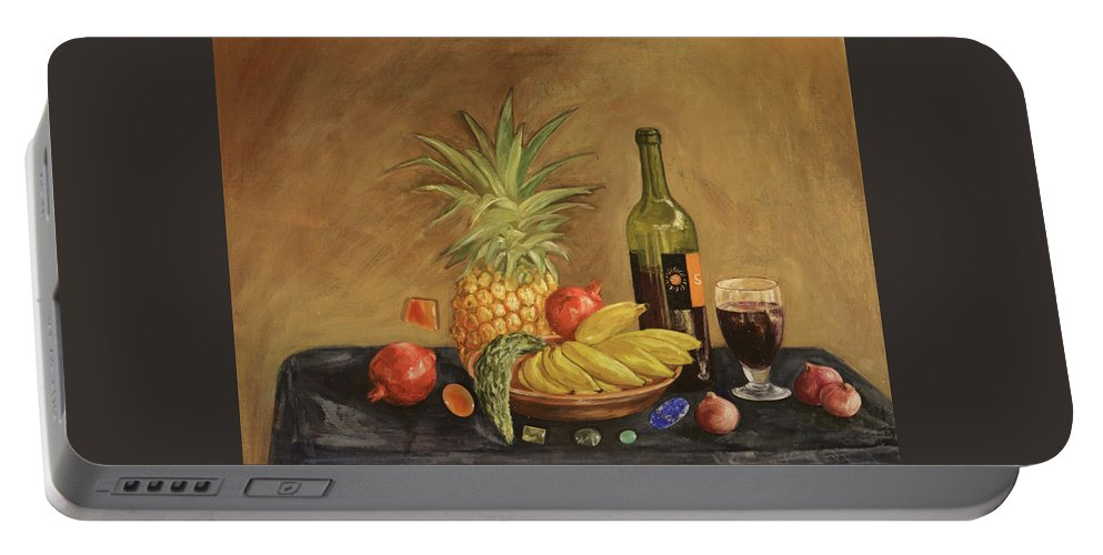 Still Life Portable Battery Charger featuring the painting Dinner by Eva Santi