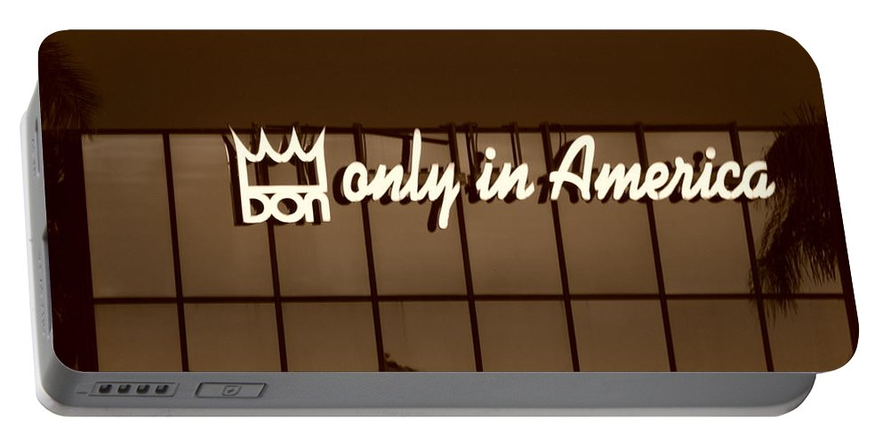 Sepia Portable Battery Charger featuring the photograph Don King Only In America by Rob Hans