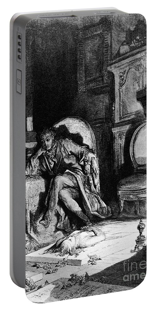 1882 Portable Battery Charger featuring the drawing The Raven by Gustave Dore