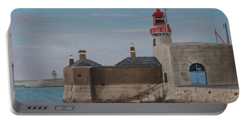 Lighthouse Portable Battery Charger featuring the painting Dun Laoghaire Lighthouse by Tony Gunning