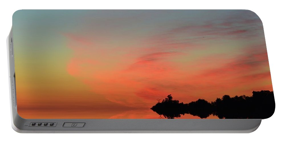 Abstract Portable Battery Charger featuring the digital art Early Morning Clouds Two by Lyle Crump