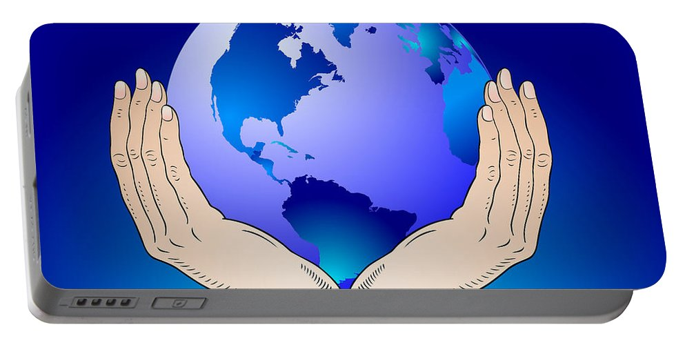 Earth Portable Battery Charger featuring the digital art Earth In The Your Hands by Michal Boubin