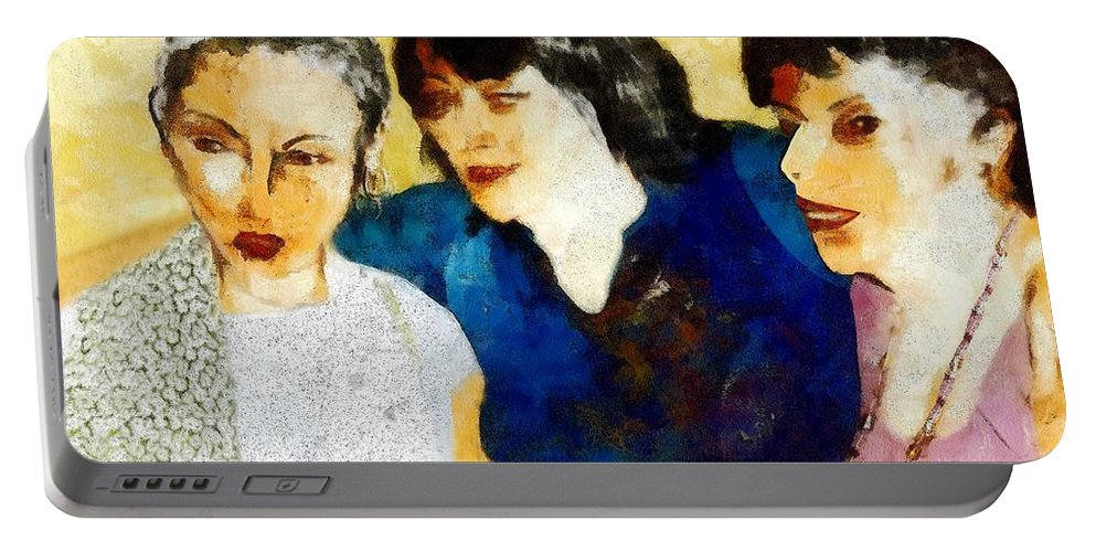 Characters Portable Battery Charger featuring the painting Eastwick Revisited by RC DeWinter