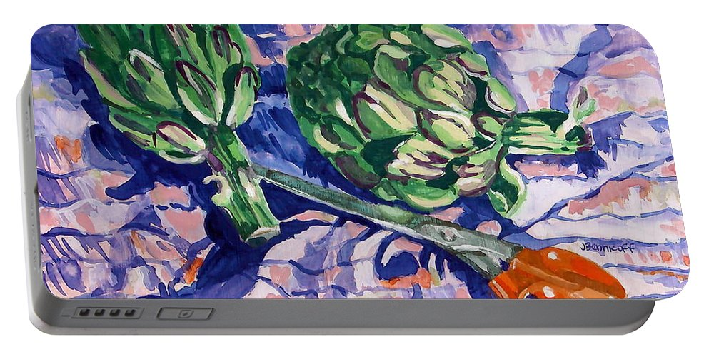 Greens Portable Battery Charger featuring the painting Edible Flowers by Jan Bennicoff