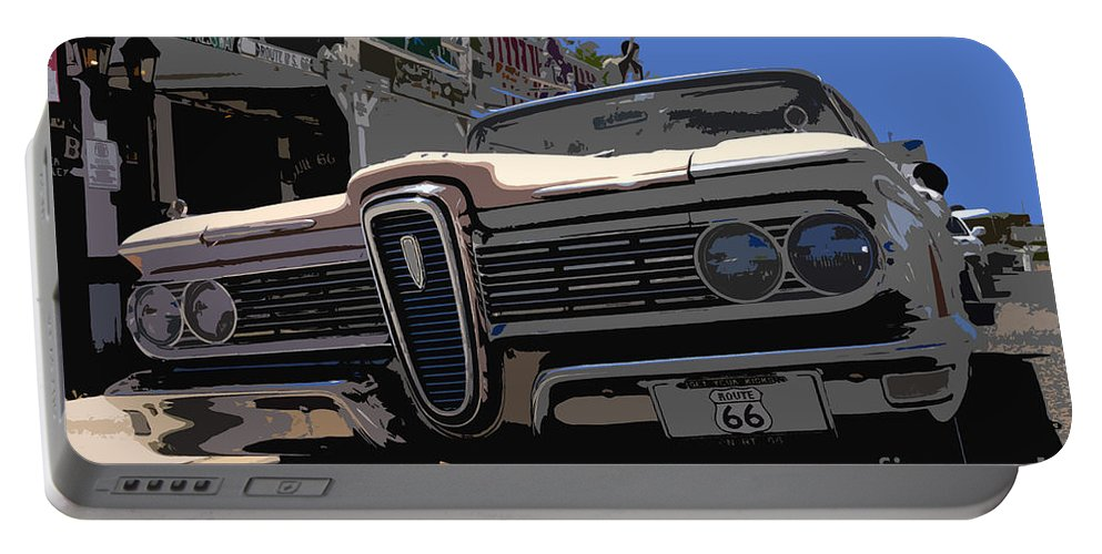 Route 66 Portable Battery Charger featuring the painting Edsel On Route 66 by David Lee Thompson