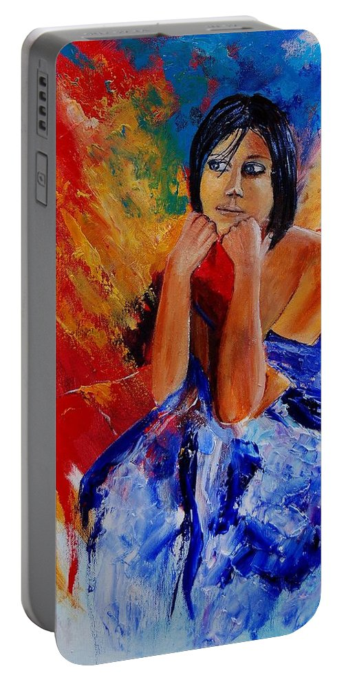Girl Portable Battery Charger featuring the painting Eglantine 45901111 by Pol Ledent