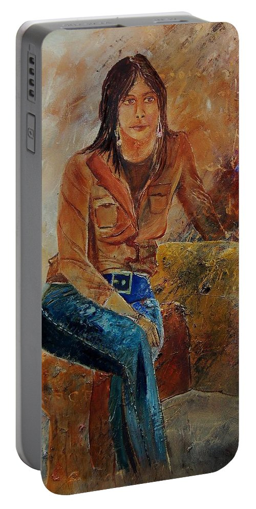 Girl Portable Battery Charger featuring the painting Eglantine 579001 by Pol Ledent