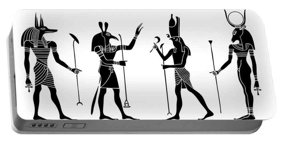 Africa Portable Battery Charger featuring the digital art Egyptian Gods by Michal Boubin