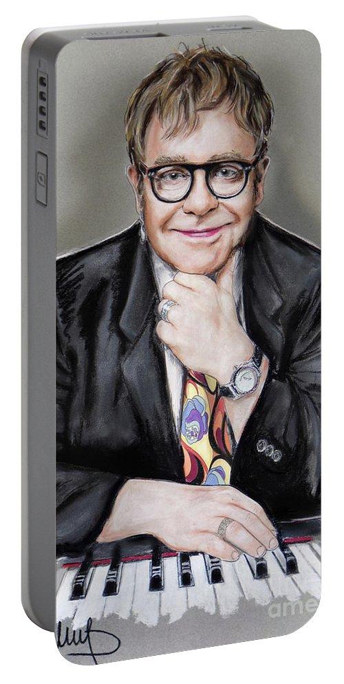 Elton John Portable Battery Charger featuring the painting Elton John by Melanie D