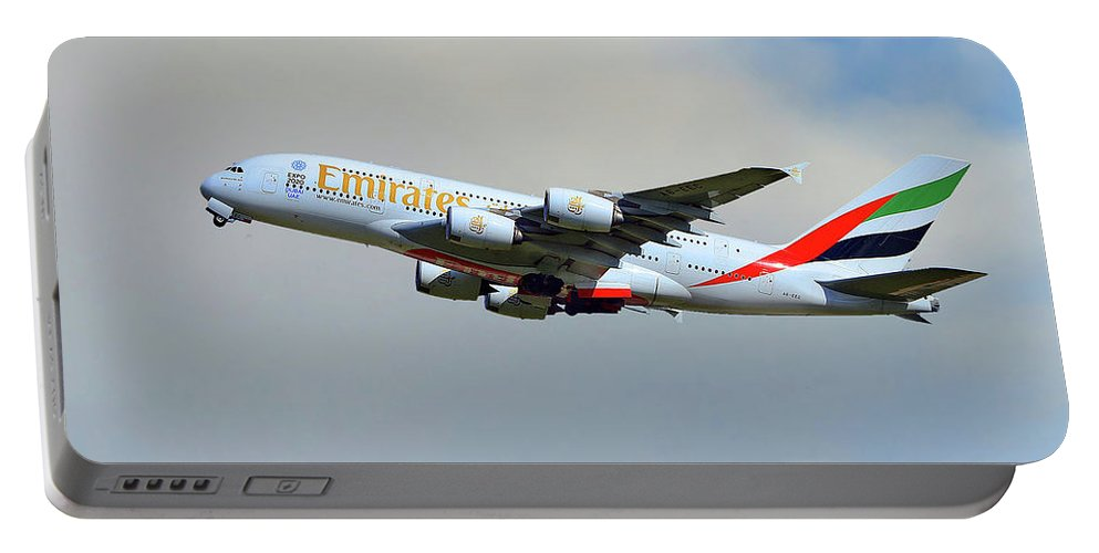 Emirates Portable Battery Charger featuring the photograph Emirates Airbus A380-861 by Smart Aviation