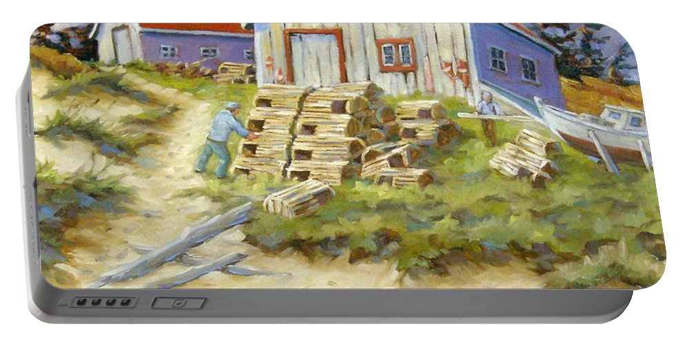 Art Portable Battery Charger featuring the painting End Of Lobster Season by Richard T Pranke