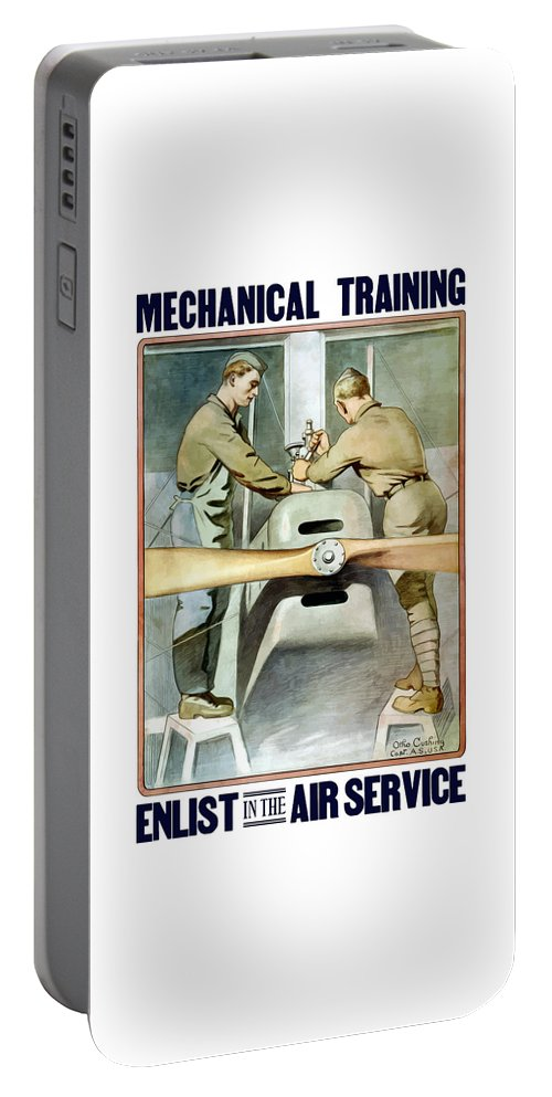 Ww1 Portable Battery Charger featuring the painting Mechanical Training - Enlist In The Air Service by War Is Hell Store
