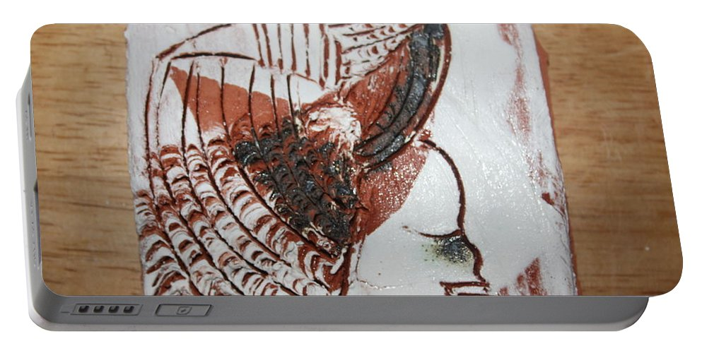 Jesus Portable Battery Charger featuring the ceramic art Eugenie - Tile by Gloria Ssali