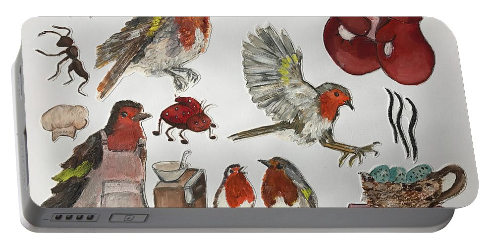European Robin Bird Birds Red Ant Portable Battery Charger featuring the painting European Robin by Sigalit Aharoni