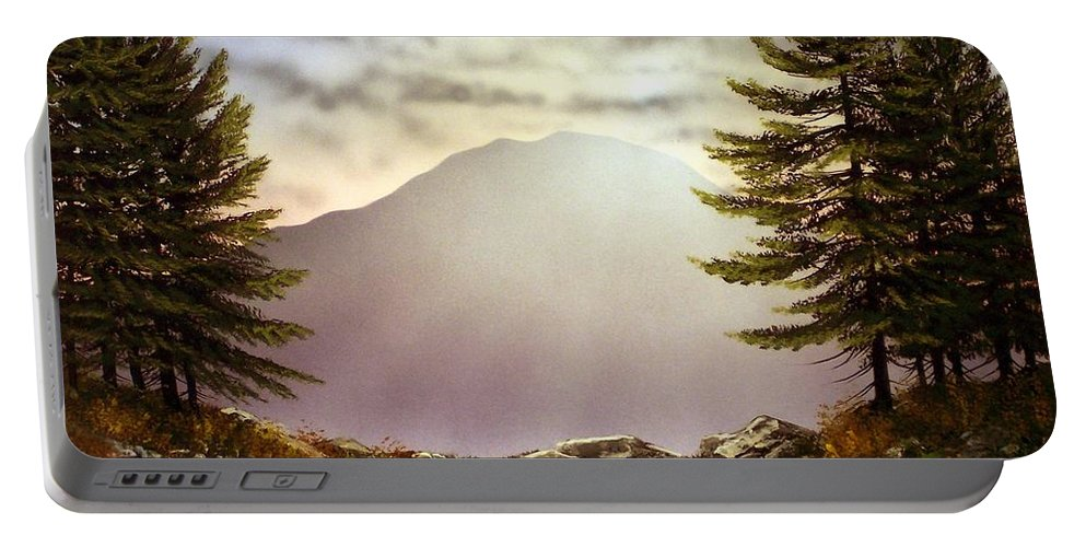Mountains Portable Battery Charger featuring the painting Evening Trail by Frank Wilson