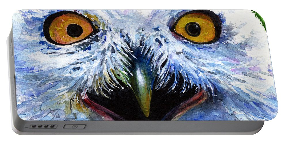 Eye Portable Battery Charger featuring the painting Eyes Of Owls No. 15 by John D Benson