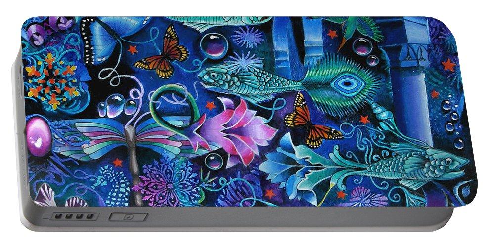 Fish Portable Battery Charger featuring the painting Fantasy Aquarium by Jeni Hodgson-Craig