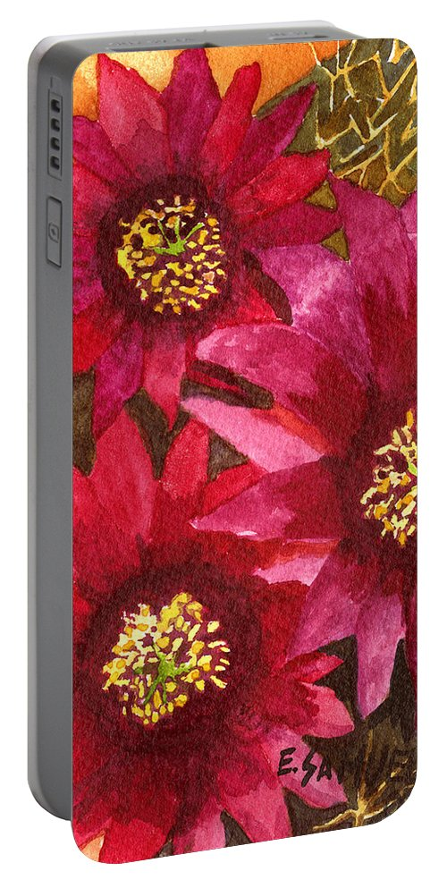 Cactus Portable Battery Charger featuring the painting Fendlers Hedgehog by Eric Samuelson