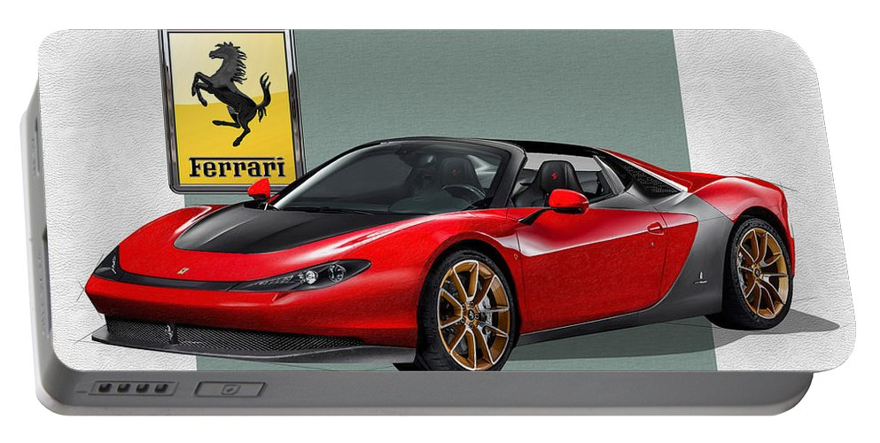 �ferrari� Collection By Serge Averbukh Portable Battery Charger featuring the photograph Ferrari Sergio with 3D Badge by Serge Averbukh