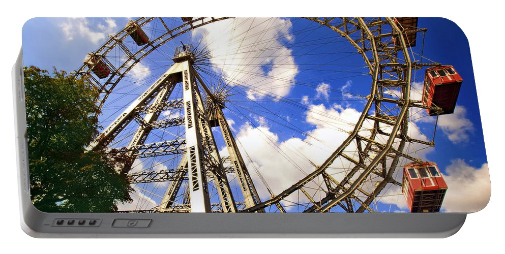 Ferris Wheel Portable Battery Charger featuring the photograph Ferris Wheel At The Prater by Madeline Ellis