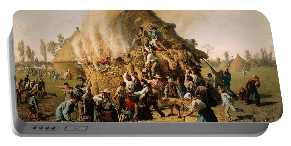Fire In A Haystack Portable Battery Charger featuring the painting Fire In A Haystack by Jules Breton