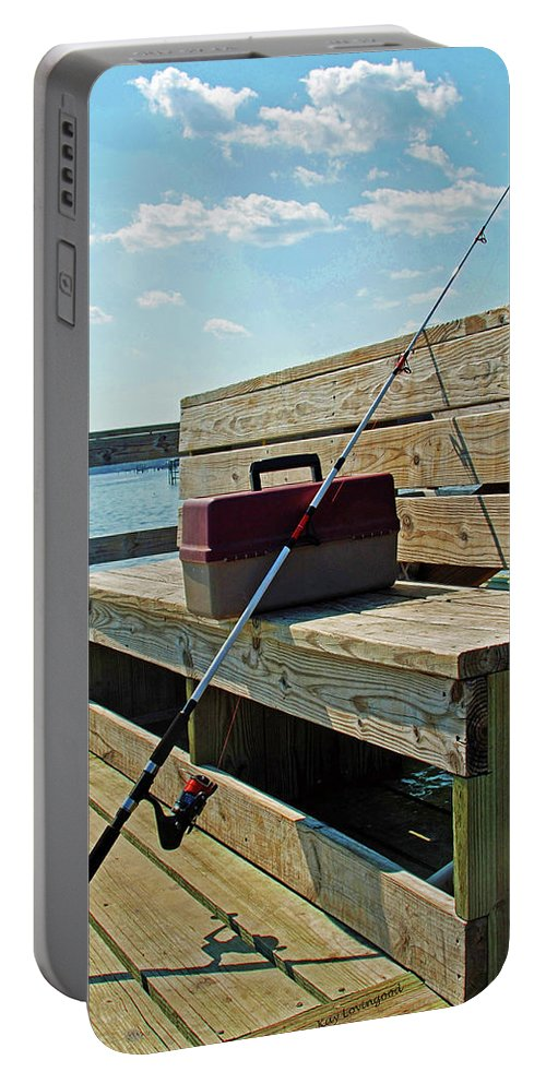 Fishing Portable Battery Charger featuring the photograph Fishin' Pole by Kay Lovingood