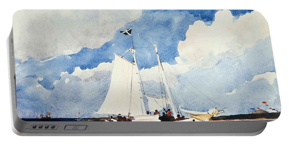 Fishing Schooner Portable Battery Charger featuring the painting Fishing Schooner by Winslow Homer