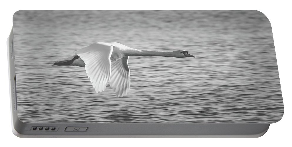 Swan Portable Battery Charger featuring the photograph Flight Of The Swan by Pixabay