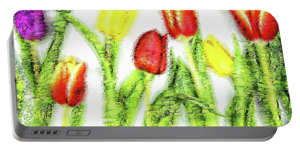 Assorted Portable Battery Charger featuring the digital art Flower Frame Border by Robert Chlopas